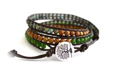 Tree Of Life Organic Triple Leather Beaded Wrap Bracelet