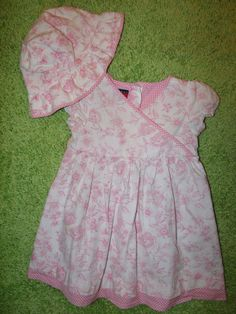 12 to 18 months Classic White w Pink Floral Dress by Tommy Hilfiger w/ Hat in 100% Cotton w/ Monogram Option