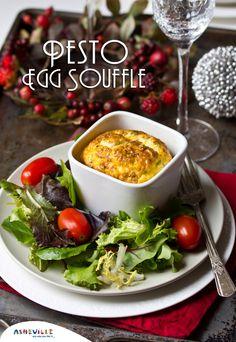 Pesto Egg Souffle | ExporeAsheville.com #breakfast #brunch #souffles