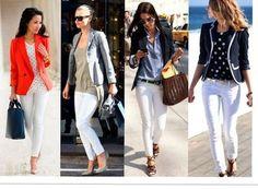 Looks calça branca com blazers