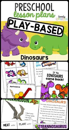 Get learning through this 2 week play-based and full of fun lesson plan! Dinosaur Theme Preschool, Preschool Writing, Preschool Learning Activities, Preschool Lesson Plans, Play Based Learning, Preschool Curriculum, Preschool Themes, Preschool Science, Dinosaur Activities