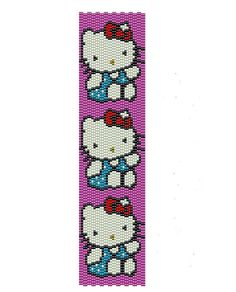 Hello Kitty peyote pattern, this pattern features kitty with a blue dress and pink background, everything done with blue, red, white and black seed beads,  the peyote cuff are (1.7in x 7in)