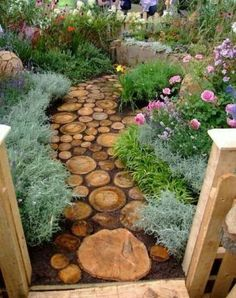 .garden stepping log slabs