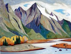'Medicine Lake' by Canadian Artist Doris McCarthy. Private Edition Giclee Print via Keasler Easy Paintings, Landscape Paintings, Landscapes, Purple Painting, Banff Springs, Canadian Artists, Canadian Painters, Dory, Oil On Canvas