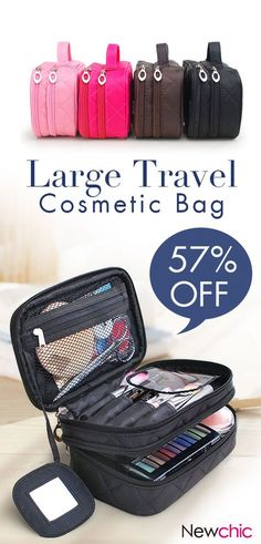 f3216d4709  57% off Honana HN-B63 Large Double Layers Travel Cosmetic Bag Portable  Makeup Organizer Toiletry Storage Bag. bag travel cosmeticbag