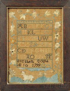 Small Needlework Sampler | Sale Number 2468, Lot Number 21 | Skinner Auctioneers