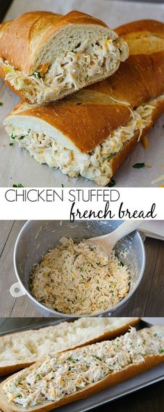 stuffed french bread is always a winner. The chicken mixture is so flavorful!This stuffed french bread is always a winner. The chicken mixture is so flavorful! Think Food, I Love Food, Good Food, Yummy Food, Great Recipes, Favorite Recipes, Game Recipes, Campfire Recipes, Campfire Food