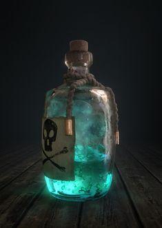 Modelled and rendered in Blender/Cycles, postprocessing in Photoshop. Fantasy Concept Art, Dark Fantasy, Fantasy Art, Anime Weapons, Fantasy Weapons, Magia Elemental, Magic Bottles, Slytherin Aesthetic, Potion Bottle