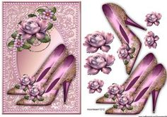 Gorgeous Shoes in pearl Frame on Craftsuprint designed by Marijke Kok - Gorgeous shoes, lovely roses in a pearl frame, for a very pretty card for all occasions. - Now available for download!