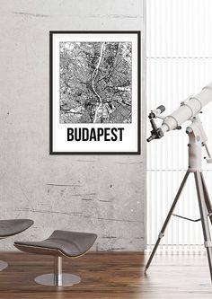Budapest City Map Print Black and White Minimalist City Map