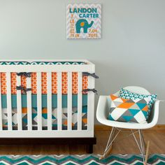 We are swooning over this turquoise crib bedding! The geometric crib skirt in turquoise, orange, and gray is everything! Don& miss the pillow for your elephant nursery. 3 Piece Set includes reversible bumpers, fitted crib sheet, and crib skirt with trim. Orange Nursery, Nursery Neutral, Turquoise Nursery, Neutral Nurseries, Cute Bedding, Baby Crib Bedding, Baby Nursery Decor, Baby Bedroom, Nursery Ideas