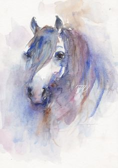 Portrait of a horse Original watercolor painting by FrancinaMaria