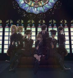Anime : Soul Eater Characters- Liz & Patti Thompson, Death the Kid, Maka Albarn, Soul Eater Evans, Black Star, Tsubaki