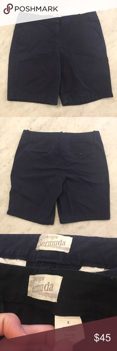 🌸SALE🌸J. Crew navy Bermuda shorts These are in good used condition. They are a size 8. Super cute navy Bermuda shorts. The tag on this pair has been cut out, but the last picture shows the black pair with the same tags. The tan black, blue and navy are the same pairs of shorts. J. Crew Shorts Bermudas