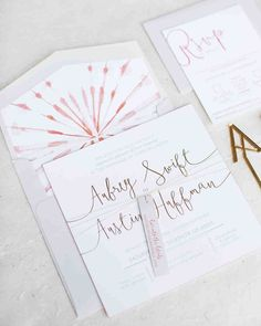 A Bright Wedding in Arizona with Boho Touches | Martha Stewart Weddings - Prim & Pixie created the couple's invitation suite, with a design of minimal geometric shapes and a pop of color in the envelope liner. The bride's sister, Kenzie, who also works at Details, Darling, penned the calligraphy.