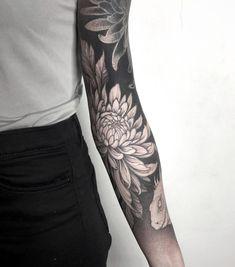 Japanese Flower Tattoo, Japanese Tattoo Designs, Japanese Sleeve Tattoos, Tattoo Designs For Women, Time Tattoos, Leg Tattoos, Black Tattoos, Blackout Tattoo, Leg Sleeve Tattoo