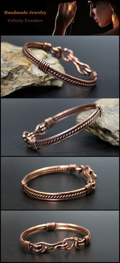 Bracelet made of copper wire. - Bracelet made of copper wire. Bracelet made of copper wire. Copper Wire Jewelry, Copper Bracelet, Clay Jewelry, Beaded Bracelets, Copper Wire Crafts, Beaded Jewelry, Jewelry Necklaces, Bangles, Jewellery
