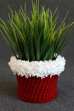 Crochet Holiday Planter Cover Pattern -- great grab-bag or hostess gift! Crochet Christmas Gifts, Crochet Christmas Decorations, Christmas Crochet Patterns, Holiday Crochet, Christmas Knitting, Christmas Diy, Crochet Planter Cover, Crochet Plant Hanger, Christmas Plants