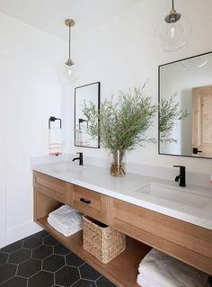 Interior Design Ideas: Lindsay Hill Interiors - modern farmhouse bathroom design with black hexagon tile, modern metal mirrors, White Oak Bathroom - Neutral Modern Bathrooms, Modern Farmhouse Bathroom, Modern Bathroom Design, Bathroom Interior Design, Beautiful Bathrooms, Minimal Bathroom, Contemporary Bathrooms, Modern Bathroom With Wallpaper, Modern Contemporary