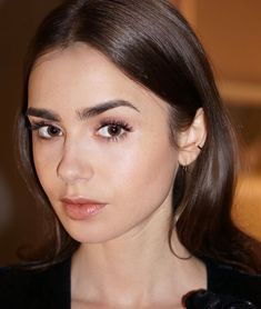 Lily Collins Eyebrows, Lily Collins Hair, Lily Collins Style, Lily Collins Makeup, Lily Collins Fashion, Lily Collins Dress, Light Hair, Dark Hair, Dark Chocolate Brown Hair