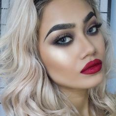 """""""Glowing @greciabeauty  BROWS: #Dipbrow in Granite  GLOW: So Hollywood Illuminator  SCULPT: Cream Contour Kit in Medium  LIPS: Kat Von D in Outlaw…"""""""