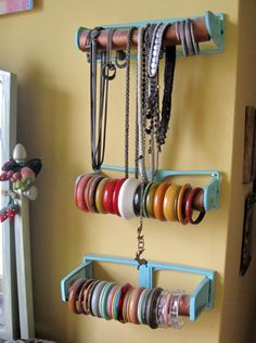 Storage Solutions : Bangles and Bracelets    fabulousisastateofmind asked:  What is the best way to store braclets and bangles?? I have a TON!!    Great question! I found a few DIY solutions with some creative Googling: