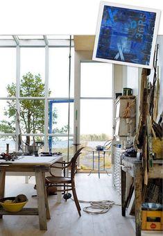 Studio / living room. Swedish designer Carouschka Streijffert's seaside cabin