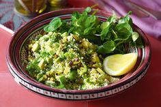 Green couscous with broad beans, dill and pistachios. Middle Eastern cuisine hits all the right notes with this healthy couscous side. Middle Eastern Dishes, Middle Eastern Recipes, Vegetable Recipes, Vegetarian Recipes, Cooking Recipes, Easy Recipes, Vegetable Dishes, Halal Snacks, Pistachio Recipes