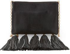 Zac Zac Posen Claudette Leather Tassel Crossbody Bag Black Blk in Black (BLK) - Lyst