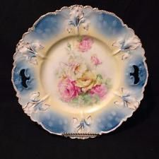 "RSP RS Prussia Marked Iris Mold Deep Blue Glaze w Roses 11"" Large Dessert Tray"