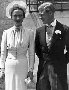 Mrs. Wallis Simpson and King Edward VIII.  This is on their wedding day after the abdication so officially they were known as the Duke and Duchess of Windsor.