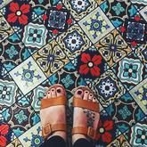 A mosaic tile floor