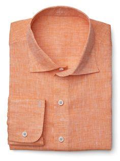 Orange Solid Italian Linen