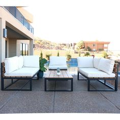 Walker Edison Furniture Company 4-Piece Natural All-Weather Outdoor Conversation Set with Cushions