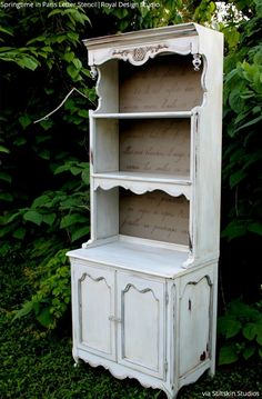 Stiltskin Studios: Gustavian Collection Pantry Hutch with Springtime in Paris… Refurbished Furniture, Paint Furniture, Repurposed Furniture, Furniture Projects, Furniture Making, Furniture Makeover, Vintage Furniture, Country Furniture, White Furniture