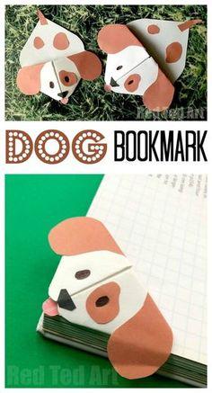 Emoji Dog Corner Bookmark - Cute little Dog Bookmark craft based on the Emoji Dog design Pops over the edges of your book. Oh so cute! Love Paper Dog Crafts for Kids. #Dogs #dogdiys #dogcrafts #dogcraftsforkids #chinesenewyear #yearofthedog