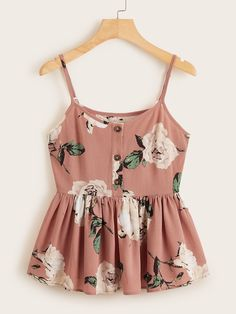 Shop & Buy Multicolor Large Floral Ruffle Hem Cami Top Women Summer Button Front Adjustable Spaghetti Strap Sleeveless Boho Cute Tops Online from Aalamey Cami Tops, Casual Outfits, Summer Outfits, Cute Outfits, Indian Blouse Designs, Inspiration Mode, Peplum Blouse, Ladies Dress Design, Ideias Fashion