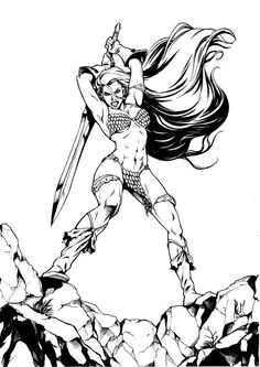 Red Sonja BW by ~ritam