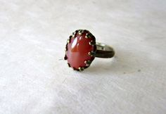 Red Carnelian Ring. Natural Gemstone Ring in by PiggleAndPop