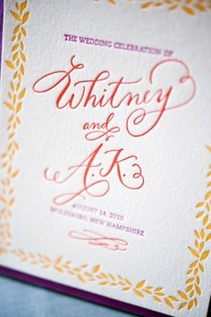 invi­ta­tions and coor­di­nat­ing wed­ding stationery: calligraphy + colors + leaf motif