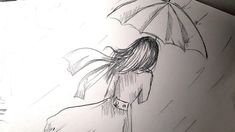 Desen in creion usor cu o Fata cu umbrela in ploaie - Girl with umbrella... Pencil Drawings, Abstract, Artwork, Summary, Work Of Art
