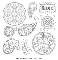 Coloring mandala elements for graphic design, set of vector floral elements…