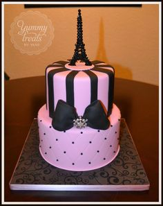 Paris Inspired Cake- for the bridal shower Pretty Cakes, Cute Cakes, Beautiful Cakes, Amazing Cakes, Paris Themed Cakes, Paris Cakes, Unique Cakes, Creative Cakes, Cake Cookies
