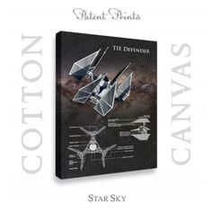 Star Wars TIE Defender Patent professionally printed on museum quality cotton canvas. TIE Defender canvas is available in various sizes and background colors. Star Wars Prints, Printed Matter, Star Wars Tshirt, Star Wars Poster, Star Sky, Patent Prints, Cotton Canvas, Colorful Backgrounds, Tie