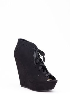 Lace-Up Lasercut Faux Suede Wedges | Forever 21 | #stepitup