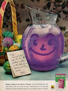 """""""Happy Ending to the Easter Parade"""", Kool-Aid ad, 1962 Retro Advertising, Vintage Advertisements, Vintage Ads, Vintage Food, Retro Ads, School Advertising, Vintage Baking, Vintage Stuff, Vintage Easter"""