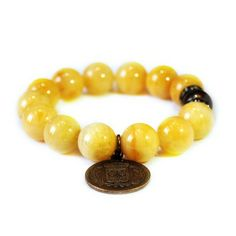 SEVILLA-ORANGE - orange jade vintage coin charm bracelet | © VELINA