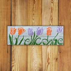 Custom made personalized Garden Decor Tile. Personalized x Tulipe Welcome Tile is Made in Canada and comes with a Lifetime Warranty. Garden Art, Garden Signs, Green, Textured Background, Flower Tile, Wood Tile, Colorful Flowers, Commercial Flooring, Garden Decor