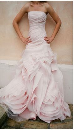 Blush Pink Wedding Gowns - love the drama!
