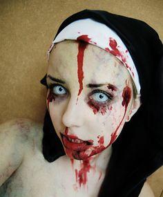 Zombie nun by Helen-Stifler Nun Halloween, Halloween Contacts, Halloween Eye Makeup, Halloween 2015, Holidays Halloween, Halloween Party, Halloween Costumes, Halloween Ideas, Zombie Makeup